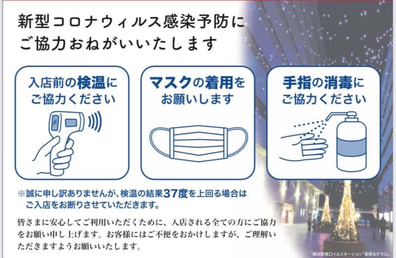 横浜YAMATO コロナウイルス感染予防対応